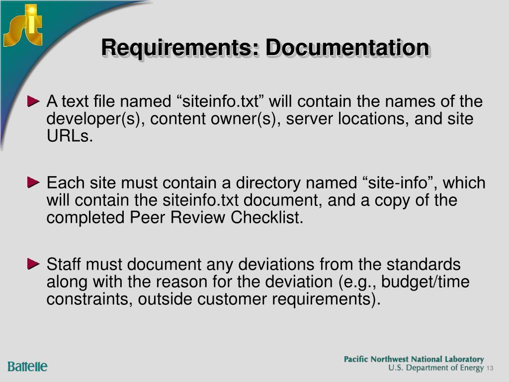 Requirements: Documentation