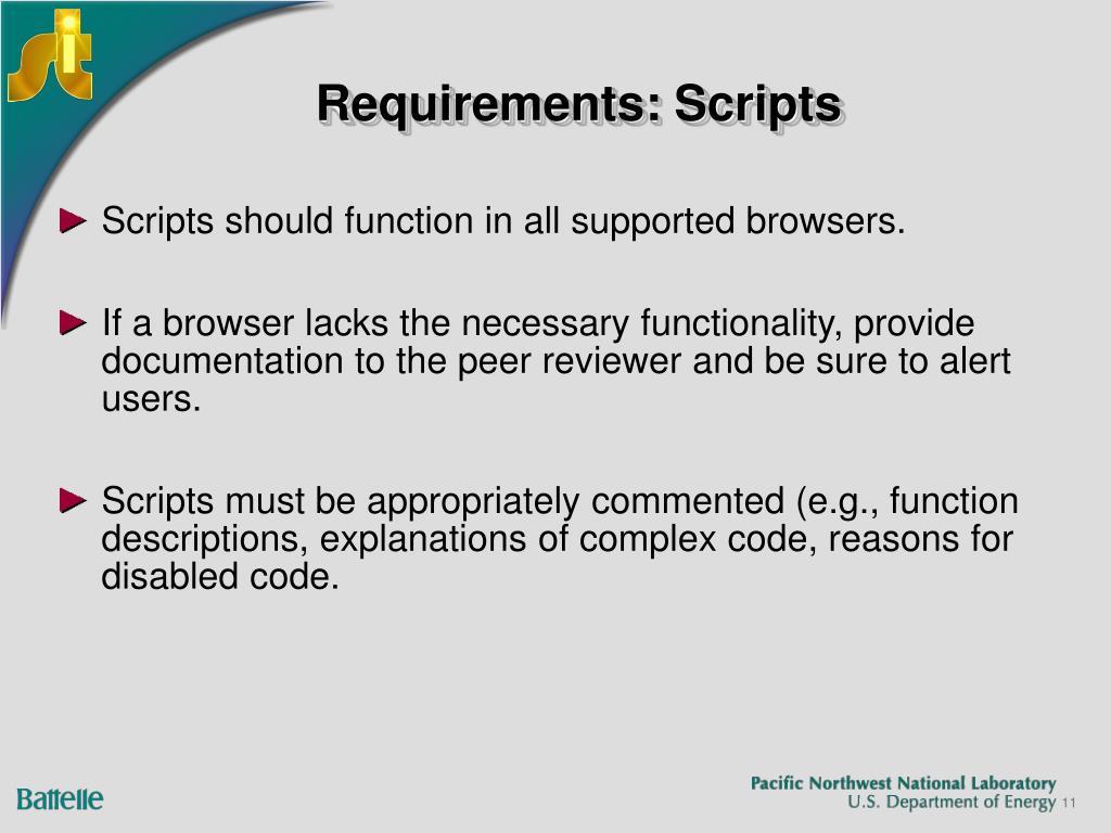 Requirements: Scripts