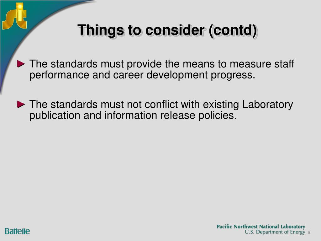 Things to consider (contd)