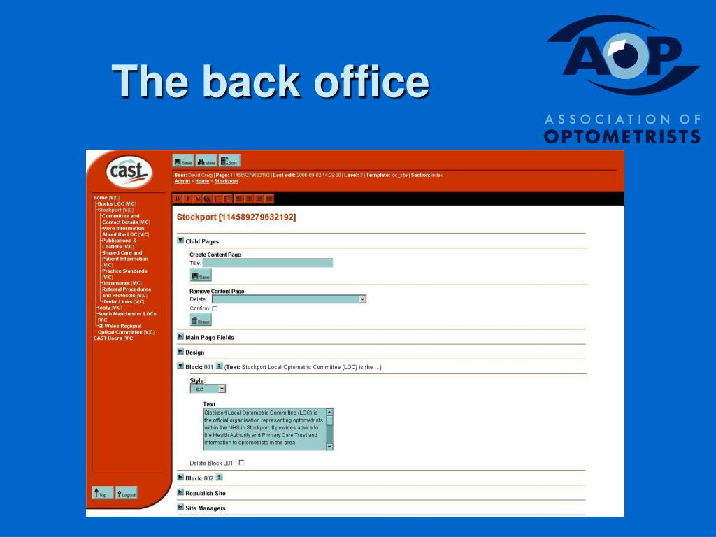 The back office
