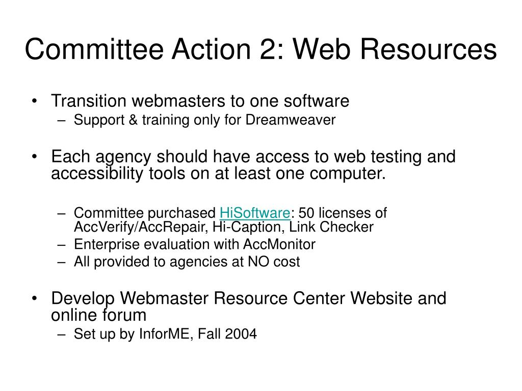 Committee Action 2: Web Resources