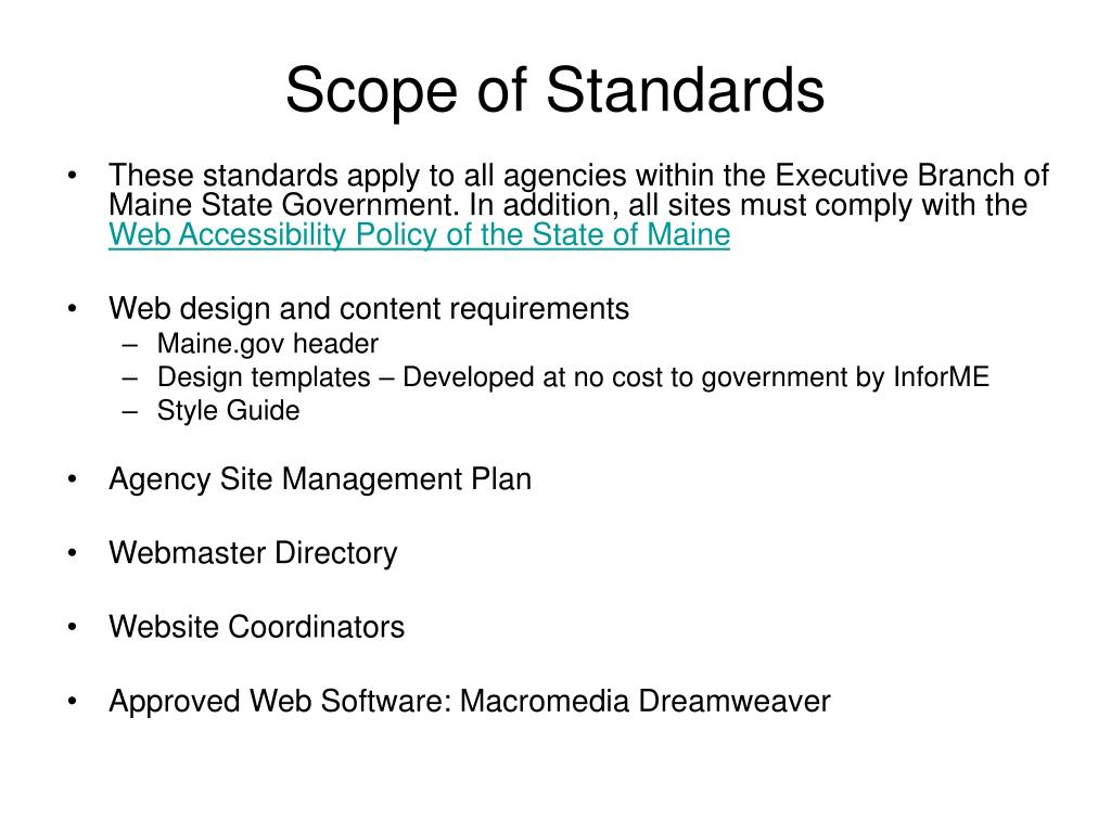 Scope of Standards