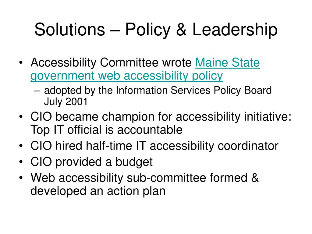Solutions – Policy & Leadership