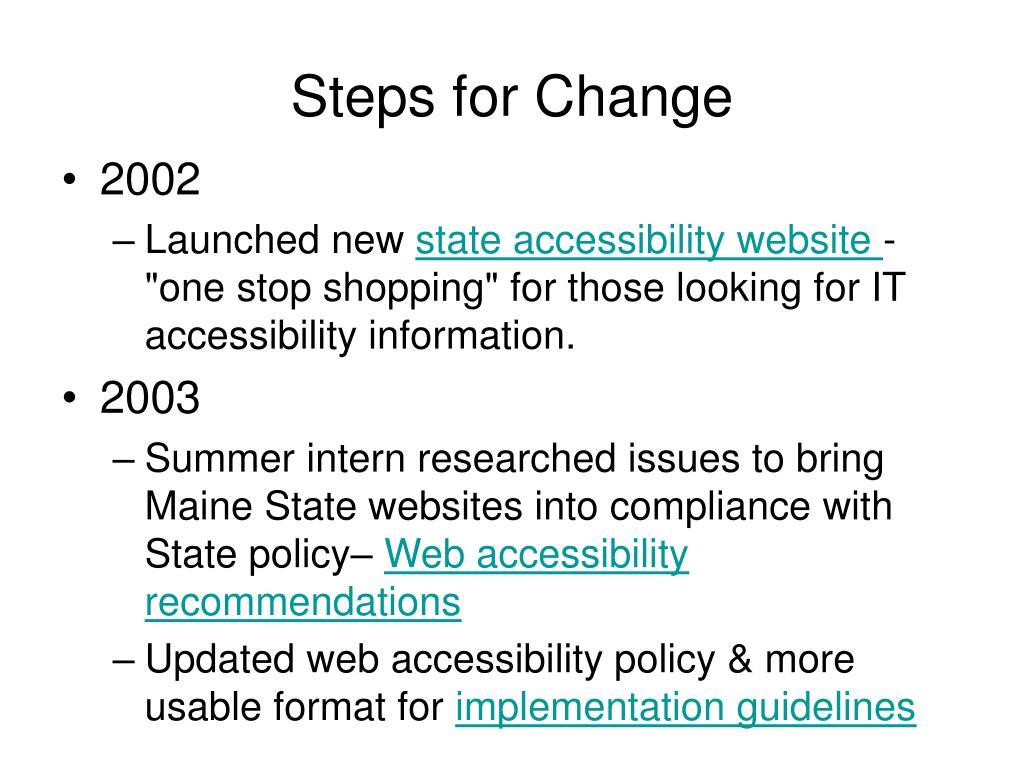 Steps for Change