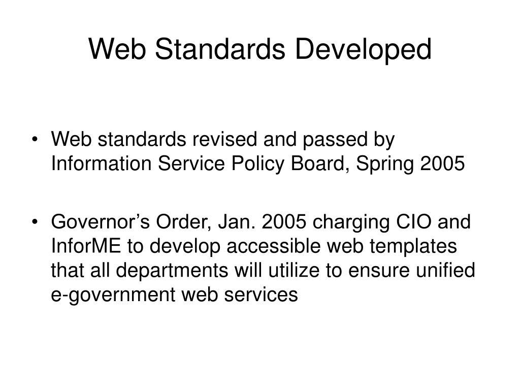 Web Standards Developed
