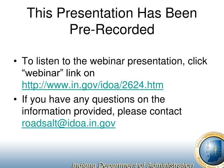 this presentation has been pre recorded n.