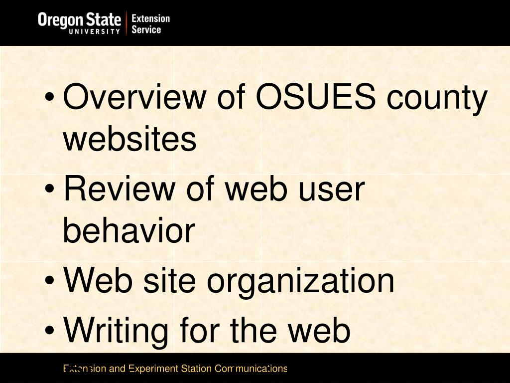 Overview of OSUES county websites