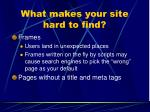 what makes your site hard to find