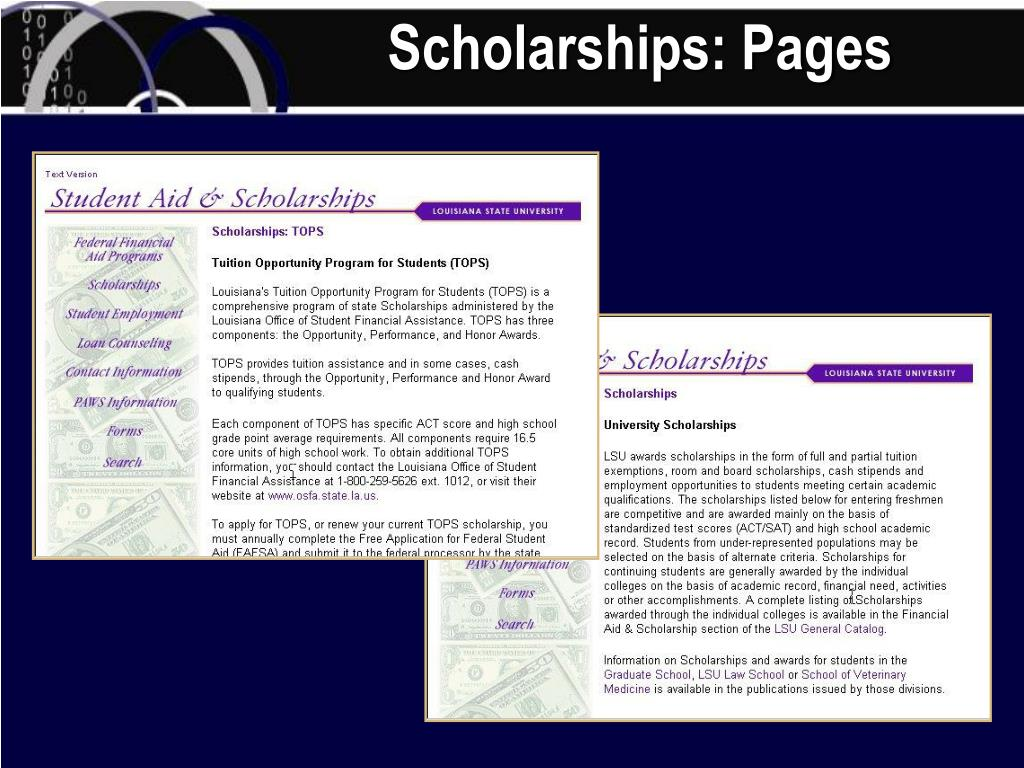 Scholarships: Pages
