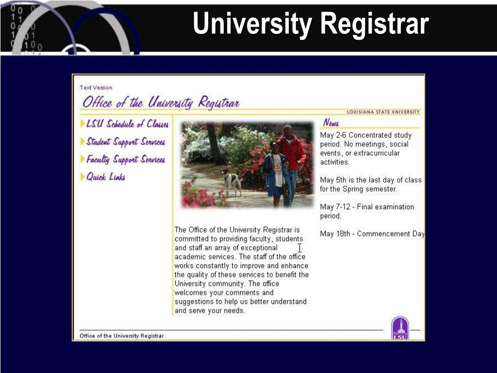 University Registrar