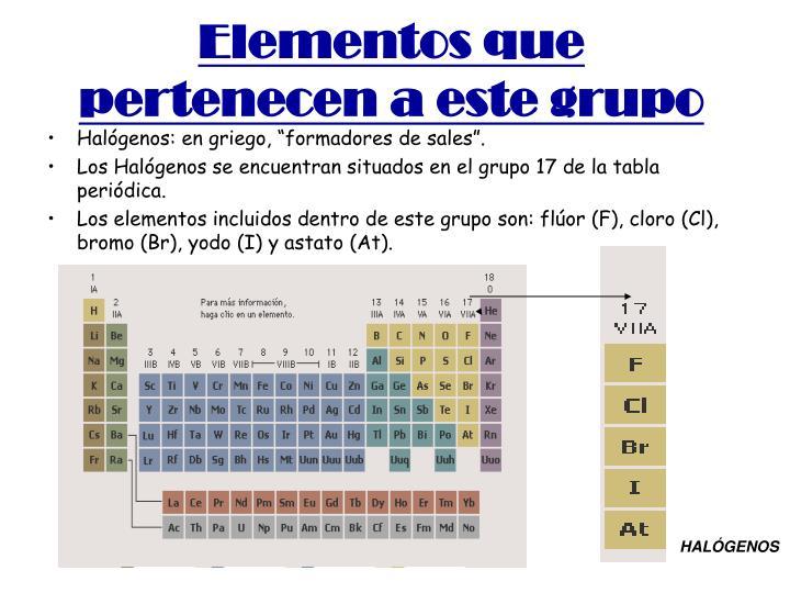 Elementos que pertenecen a este grupo