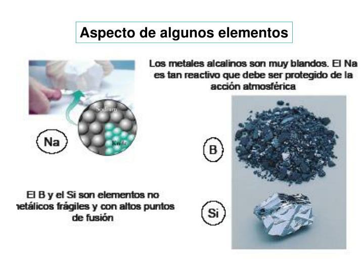 Aspecto de algunos elementos