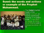 sunni the words and actions or example of the prophet muhammad