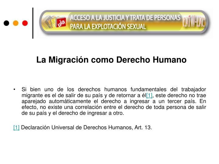 La Migración como Derecho Humano