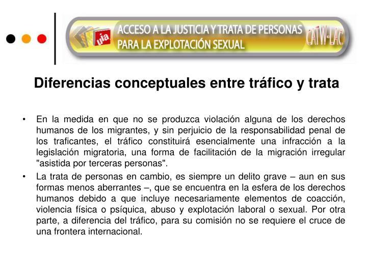 Diferencias conceptuales entre tráfico y trata