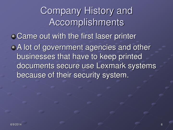 Company History and Accomplishments