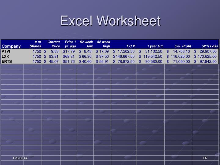Excel Worksheet