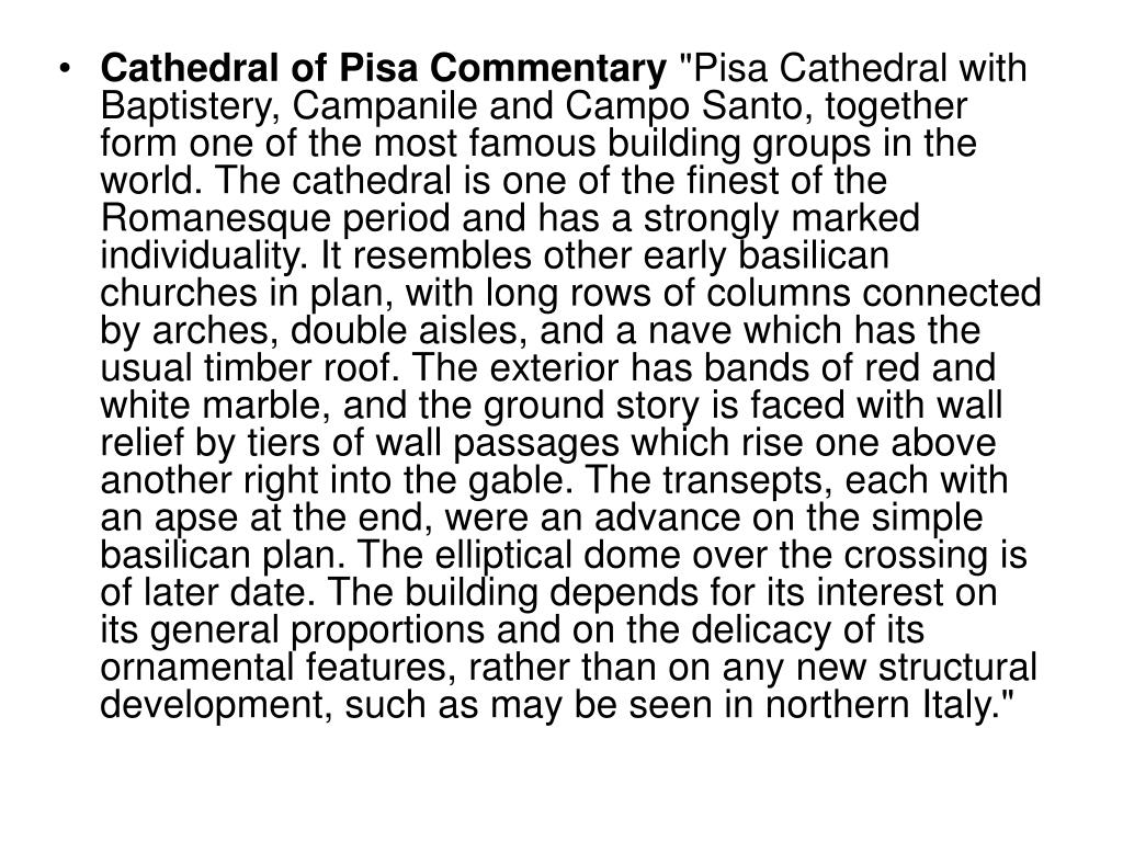 Cathedral of Pisa Commentary