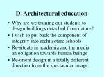 d architectural education