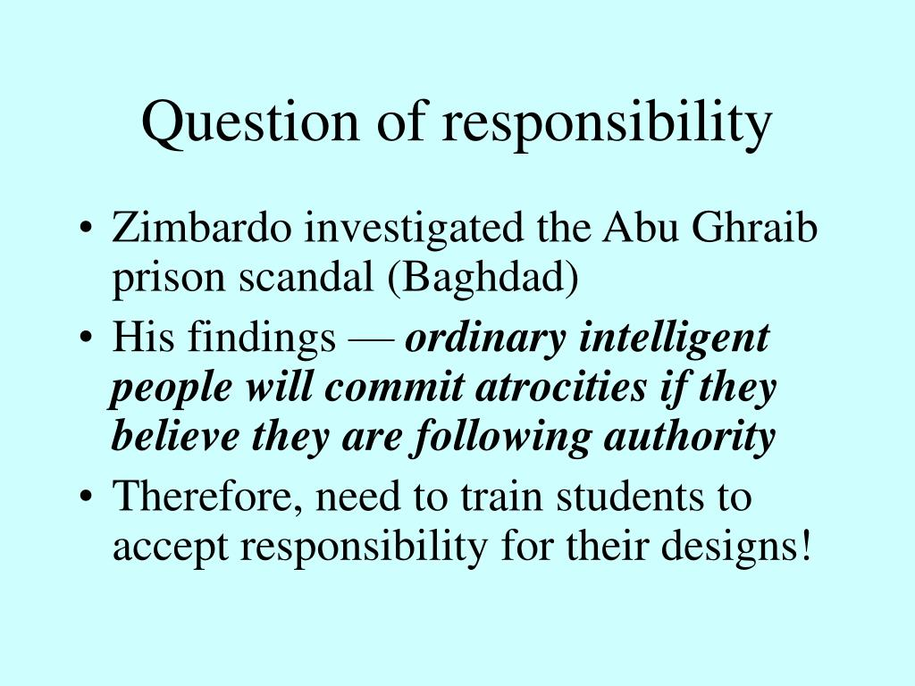 Question of responsibility