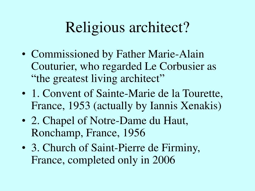 Religious architect?