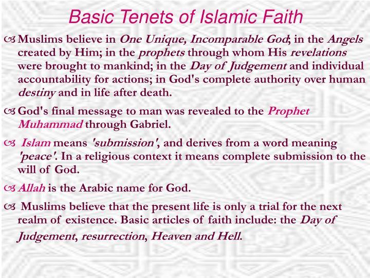 Basic tenets of islamic faith