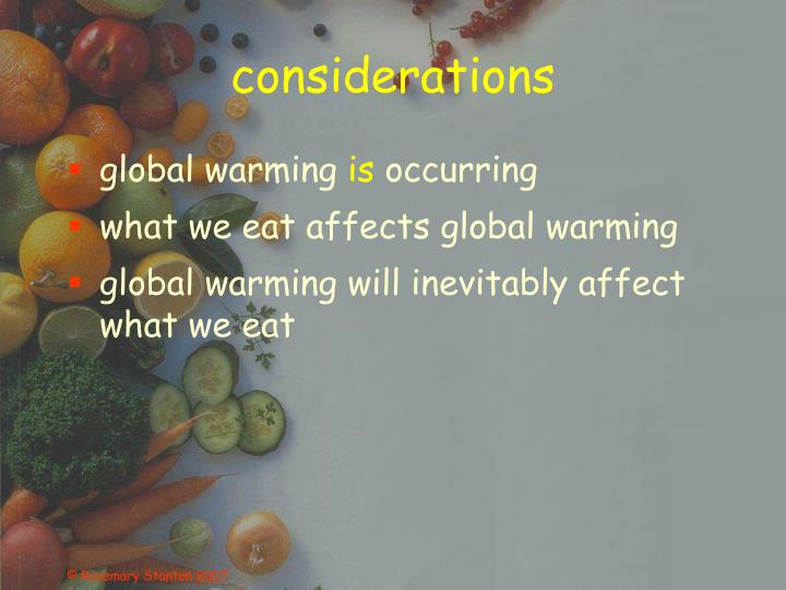 research paper healthy eating and global warming - everyone knows that global warming is a serious environmental health problem with its effects reflecting on nature and all of mankind on earth since the mid-twentieth century - emission of concentrated greenhouse gases, rise of sea levels, melting of polar ice caps, and increase in global surface air temperature.