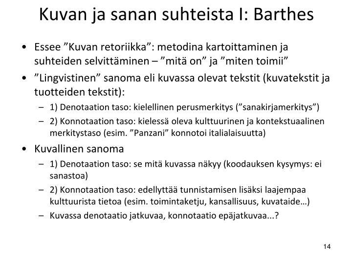 Kuvan ja sanan suhteista I: Barthes