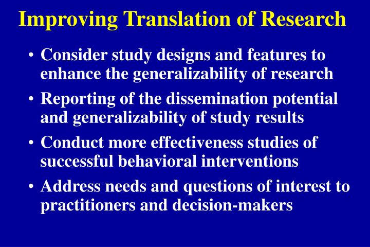 Improving Translation of Research