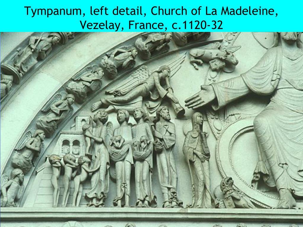 Tympanum, left detail, Church of La Madeleine, Vezelay, France, c.1120-32