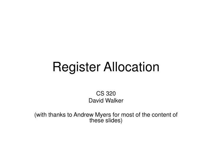 register allocation n.