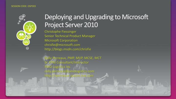 deploying and upgrading to microsoft project server 2010 n.