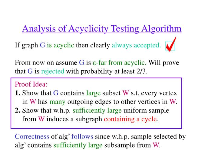 Analysis of Acyclicity Testing Algorithm