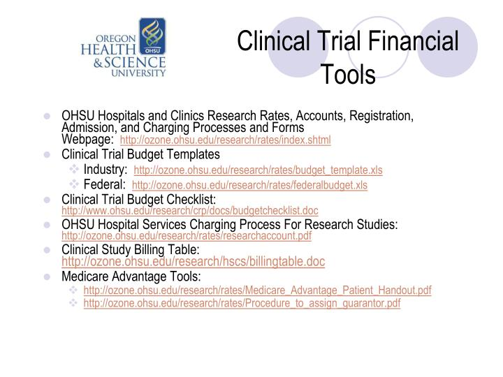 Clinical Trial Financial Tools