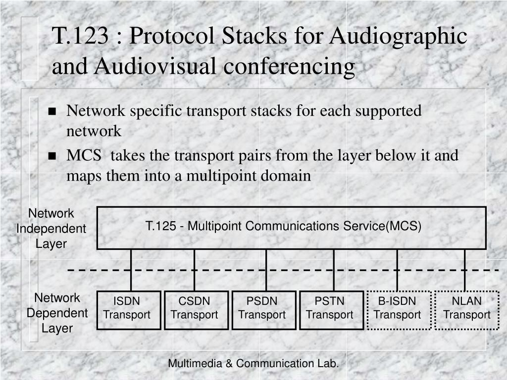 T.123 : Protocol Stacks for Audiographic and Audiovisual conferencing