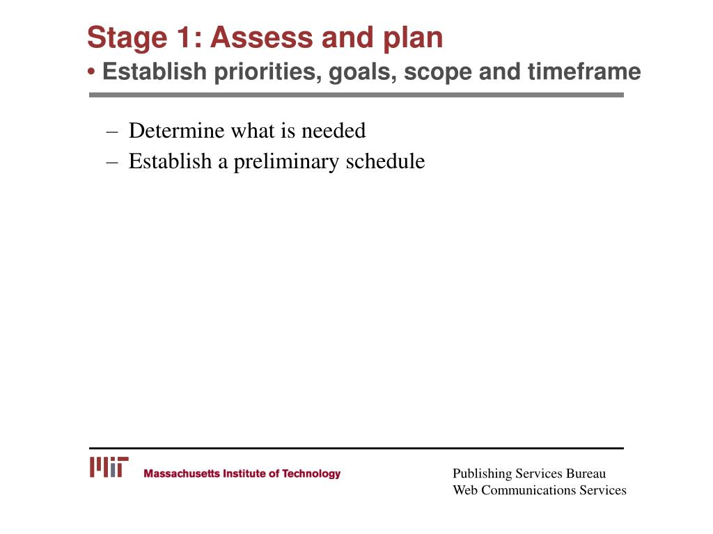 Stage 1: Assess and plan