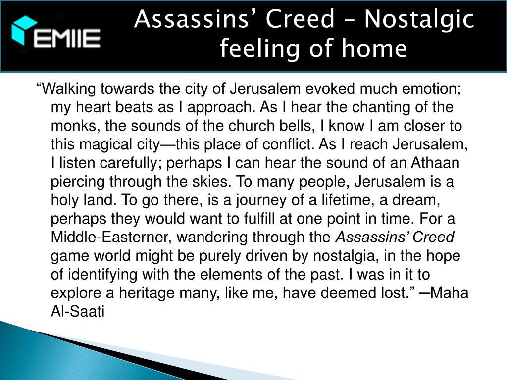 Assassins' Creed – Nostalgic feeling of home