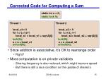 corrected code for computing a sum