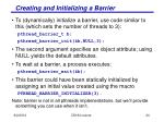 creating and initializing a barrier