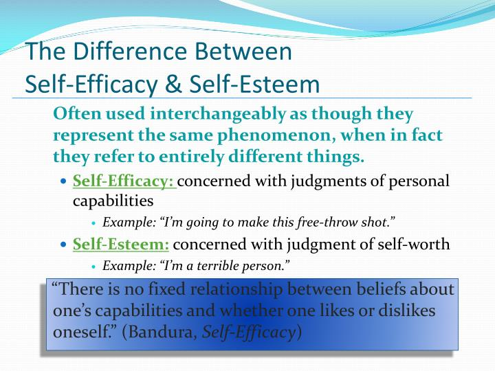 intrapersonal self esteem and self efficacy Relationship between graduate students' statistics self-efficacy  dispositional antecedents are intrapersonal factors esteem support such as the.