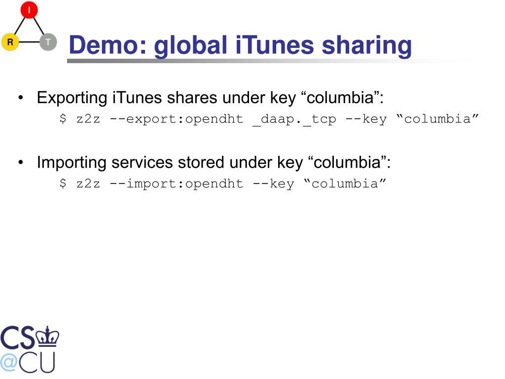 Demo: global iTunes sharing