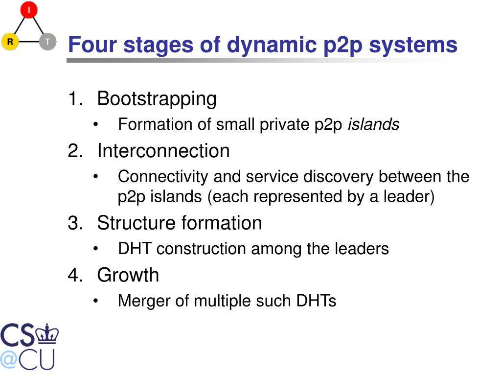 Four stages of dynamic p2p systems