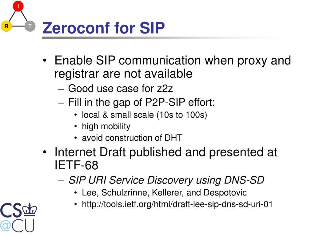 Zeroconf for SIP