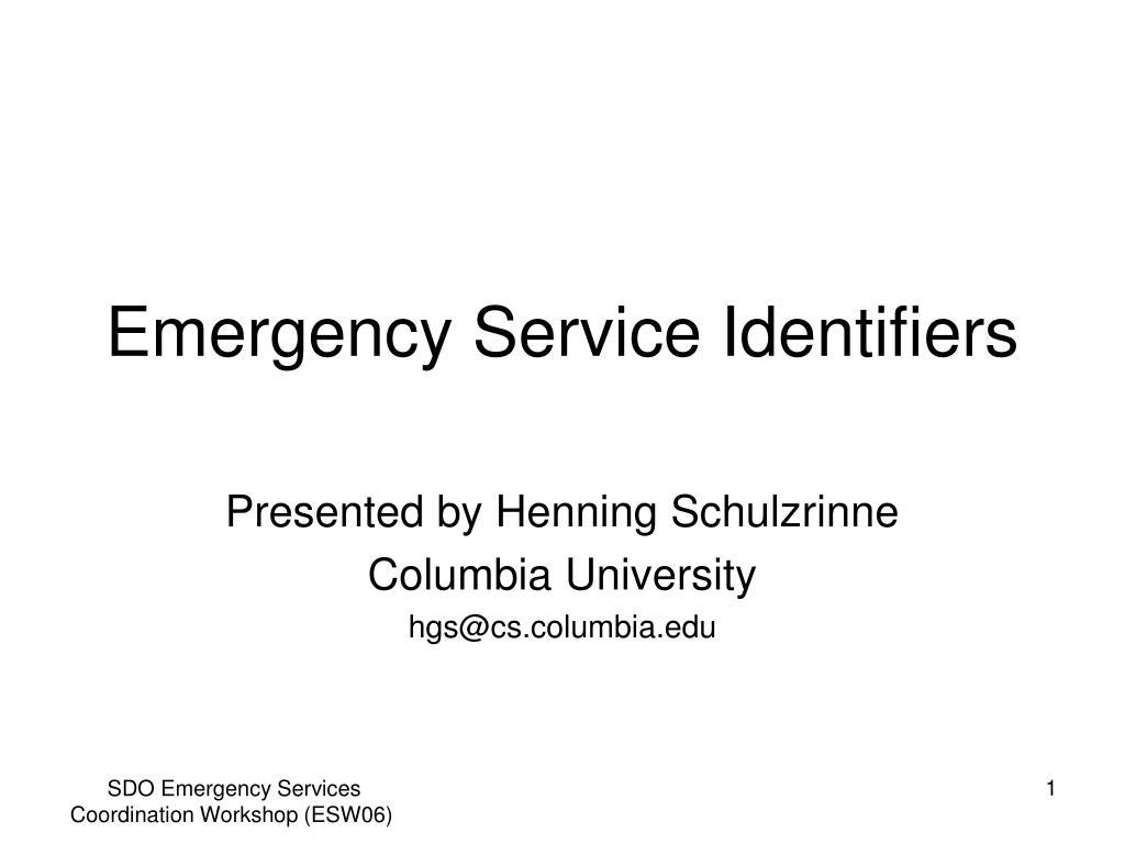 emergency service identifiers l.