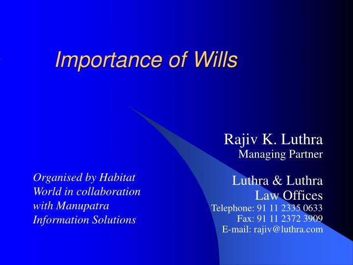 importance of wills n.
