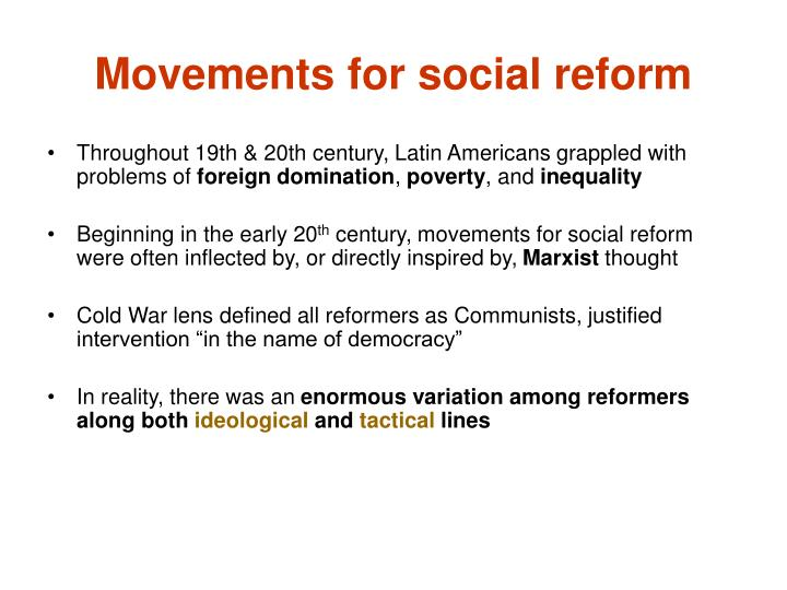 Movements for social reform