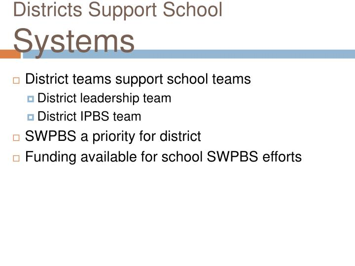 Districts Support School