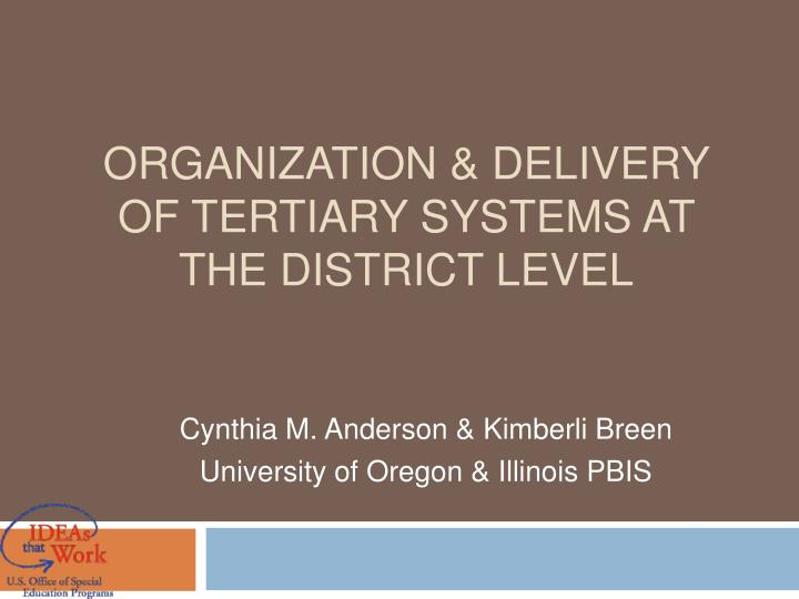 Organization delivery of tertiary systems at the district level