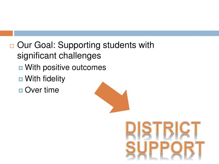 Our Goal: Supporting students with significant challenges