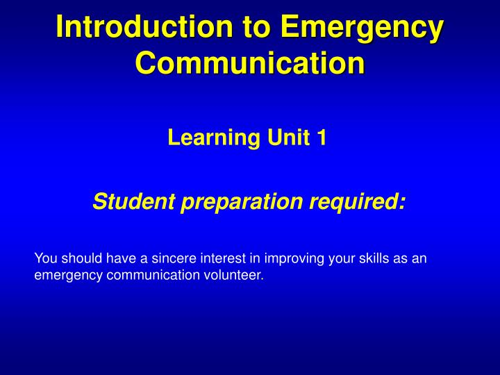 Introduction to emergency communication3